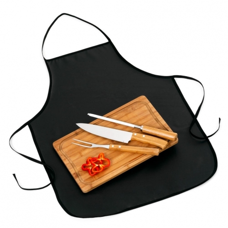 Kit churrasco 4 peças com tábua TR em bambu