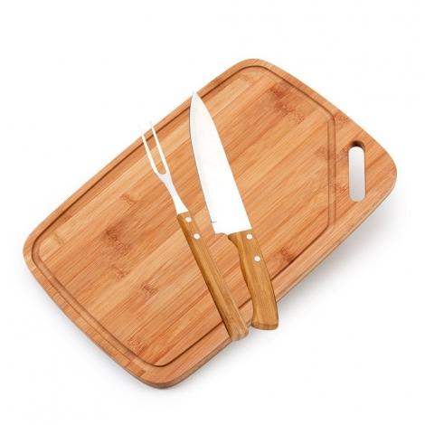 Kit churrasco 3 peças bambu / inox