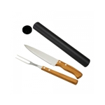 brinde Kit Churrasco com Faca 7 e Garfo em Bambu e Inox-3